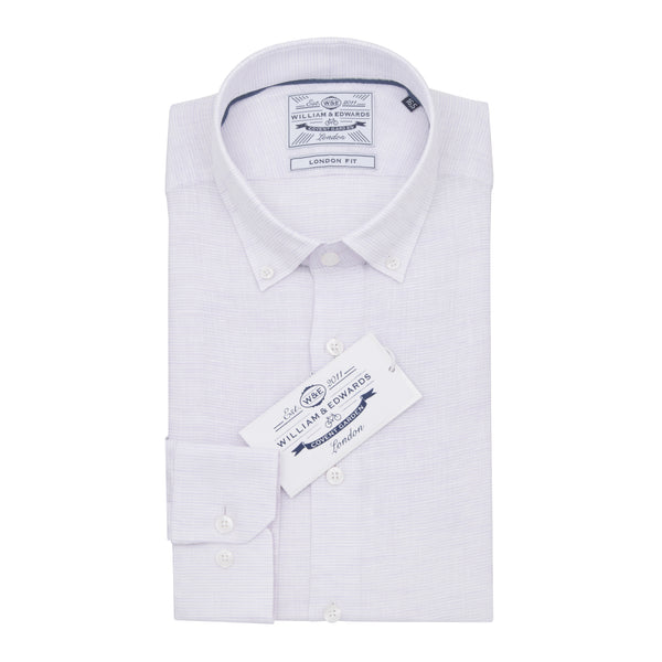 Light Purple Stripe Linen  Button Down Collar Slim Fit Shirt - luxury shirt williamandedwards