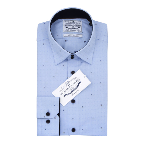 Blue Oxford  High Contrast Collar Butterfly Embroidery  Slim Fit Shirt - luxury shirt williamandedwards