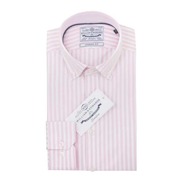 Pink Oxford Stripe Sleeve Button Down  Slim Fit Shirt - luxury shirt williamandedwards