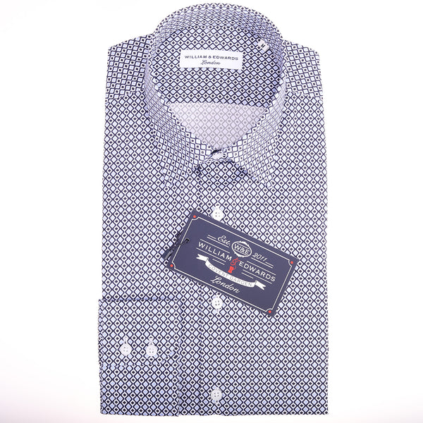 Luxe Casual Retro Diamond Wave Print Slim Fit Limited Edition