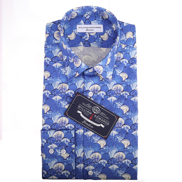 Luxury Casual Art Sea Shell Print Slim Fit Limited Edition Chemises