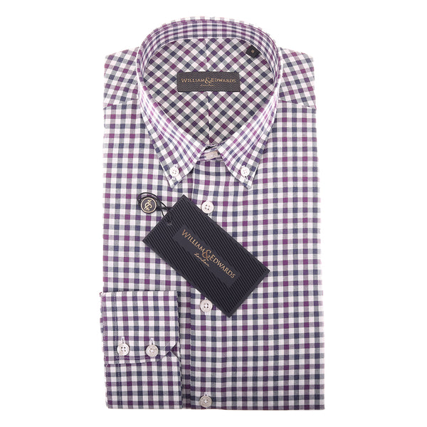 Soktas 2 Fold 80/2 Egyptian Cotton Purple Check Tailor Stitched Slim   Fit  Button Down Casual   Shirt