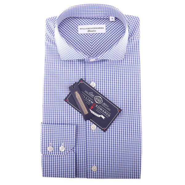 Blue Check Pattern Slim Fit Semi Cutaway Collar Dress Shirt