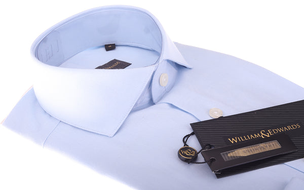 Organic Soktas Egyptian Cotton Blue Oxford Shirt Eco Friendly Semi Cutaway Collar