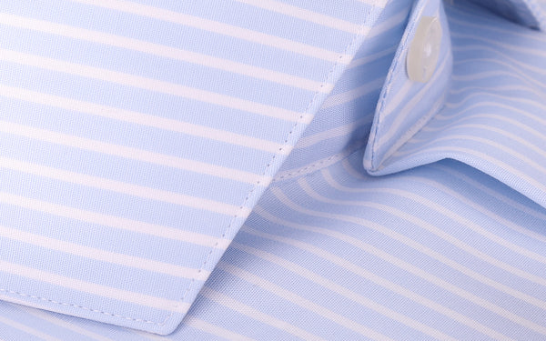 Monti Super Fine Italian Cotton  Stripe  Luxury Light Blue Shirts