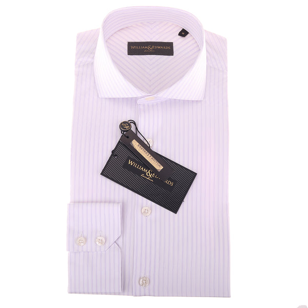 2 Fold 120/2 Italian Cotton Purple Stripe  Luxury White  Shirts