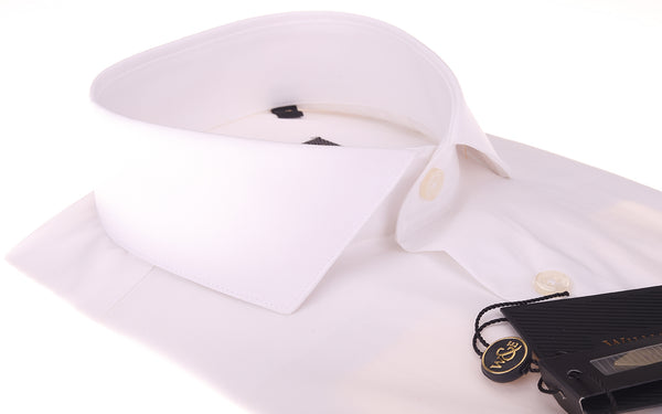 Organic Soktas Egyptian Cotton White Poplin Shirt Eco Friendly Semi Cutaway Collar