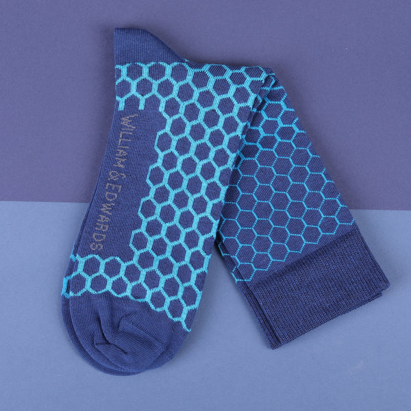 Econyl Organic Socks  Lights Navy Geo design This Socks Help to clean Planet