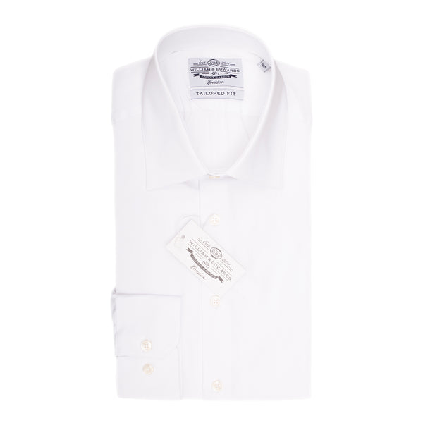 White Silk Touch Slim Fit  Classic Collar Dress Shirt