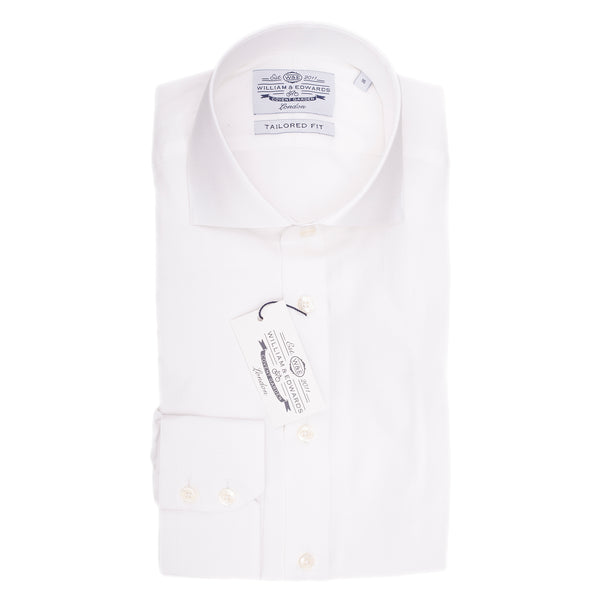 White small Herringbone Semi Cutaway  Collar Shirt