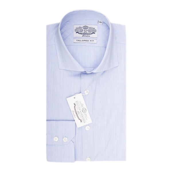 Blue End-on-End Slim Fit camisa de vestido de luxo