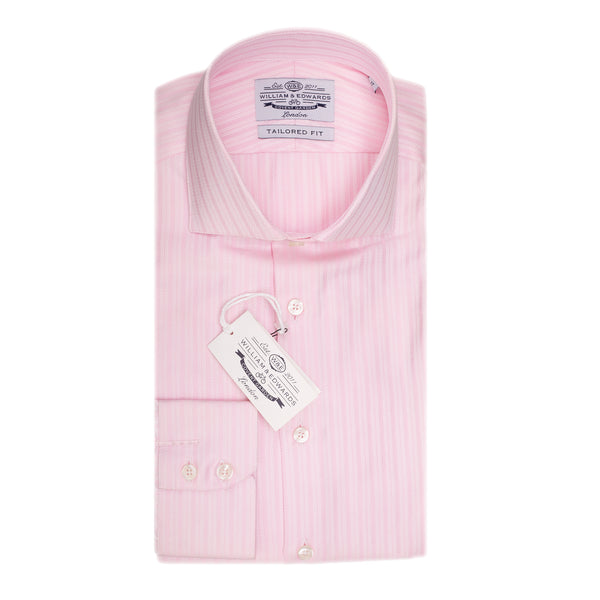 Pink Dobby Robe Stripe Slim Fit Semi Cutaway Luxury Shirt