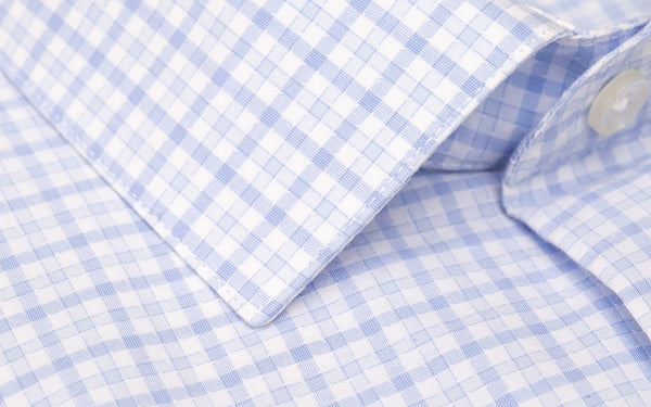 Blue Dobby puppytooth Slim Fit Semi Cutaway Luxury Shirt