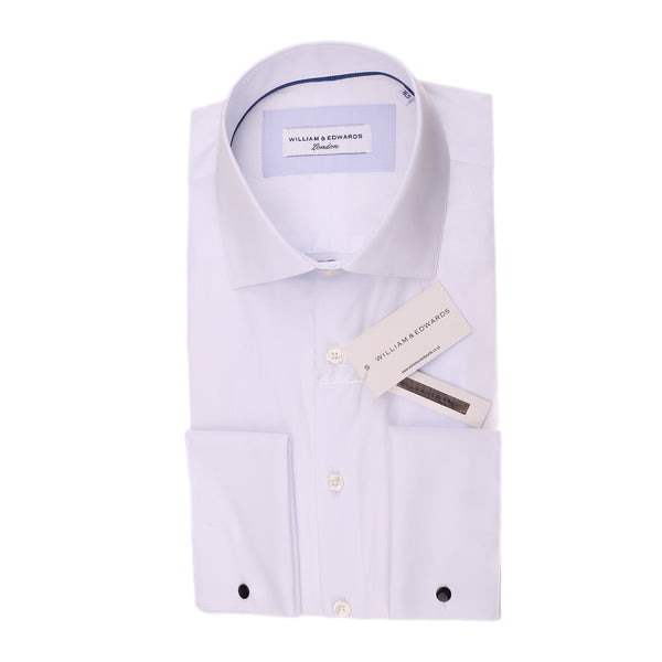 White Blue Stretch Poplin Slim Fit  Blue Contrast Collar  Casual  and Formal Shi