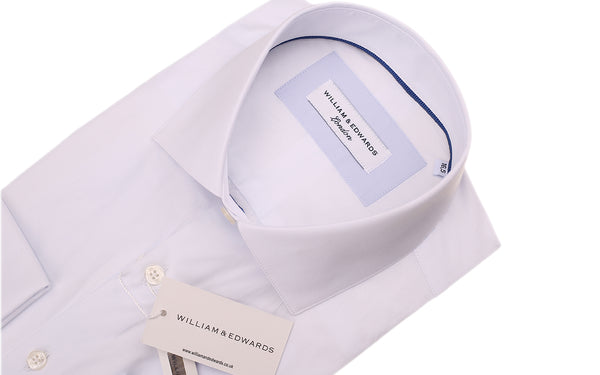 White Blue Stretch Poplin Slim Fit  Blue Contrast Collar  Casual  and Formal Shirt
