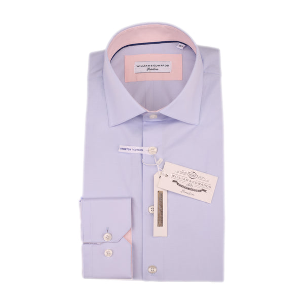 Azul Popelina elástica Slim Fit Contraste de color Rosa Collar Casual y Formal de la Camisa