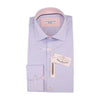 Blue Stretch Poplin Slim Fit  Pink Contrast Collar  Casual  and Formal Shirt