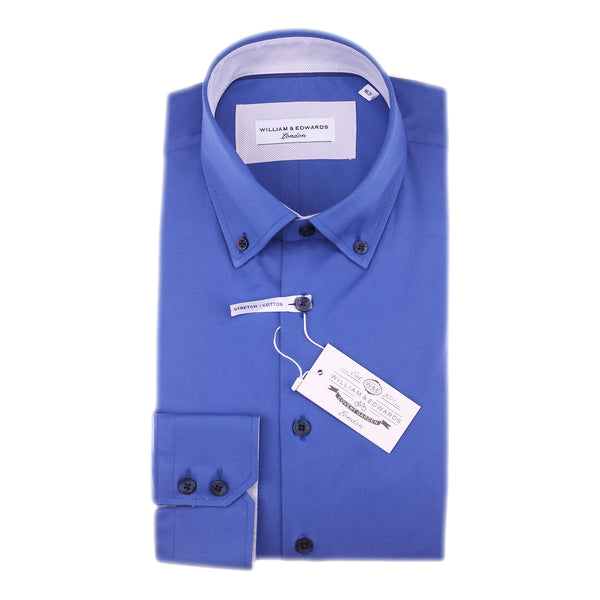 Popeline de estiramento da Marinha Slim Fit Button Down Contrast Collar Casual and Formal Shirt