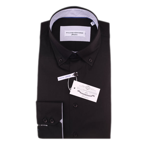 Black Stretch Poplin Slim Fit Button Giù Collare A differenza casuale e Formale S