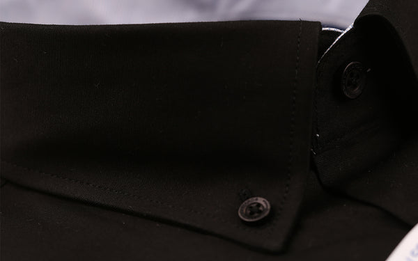 Black Stretch Poplin Slim Fit  Button Down Contrast Collar  Casual  and Formal S