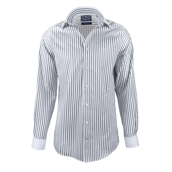 White Collar anf Cuff Silver Stripe Fine Finish Slim Fit Dress Shirt - luxury shirt williamandedwards