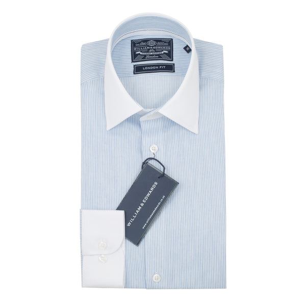 White Collar and Cuff Sky Blue Stripe Fine Finish Slim Fit Dress Shirt - luxury shirt williamandedwards