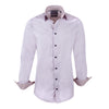 Pink micro check high collar two button polka dot contrast collar  shirt - luxury shirt williamandedwards