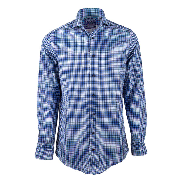 Navy Plaid Pattern Handmade Slim Fit Cutaway Collar Dress Shirt - luxury shirt williamandedwards