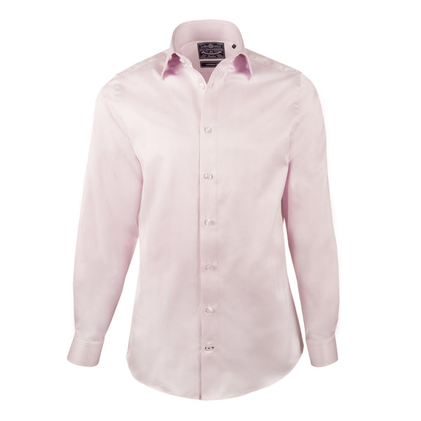 Pink Herringbone Slim Fit Semi Cutaway Shirt - luxury shirt williamandedwards
