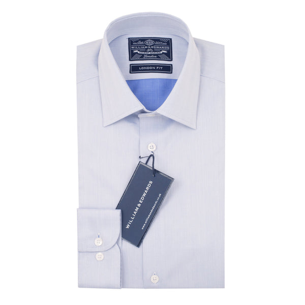Blue Herringbone Semi Cutaway  Collar Shirt - luxury shirt williamandedwards