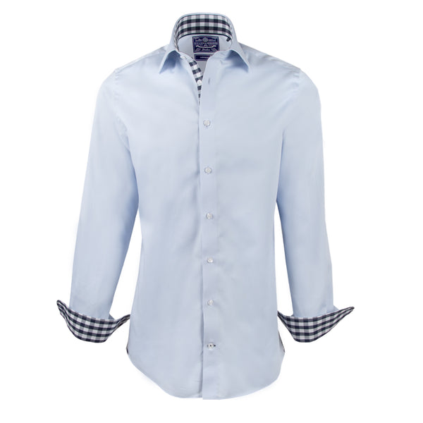 Blue Silk Touch Slim Fit Check Contrast Collar Semi Cutaway Dress Shirt - luxury shirt williamandedwards