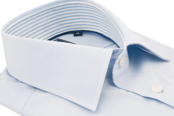 Blue Poplin Slim Fit Stripe Contrast Collar Semi Cutaway Dress Shirt - luxury shirt williamandedwards