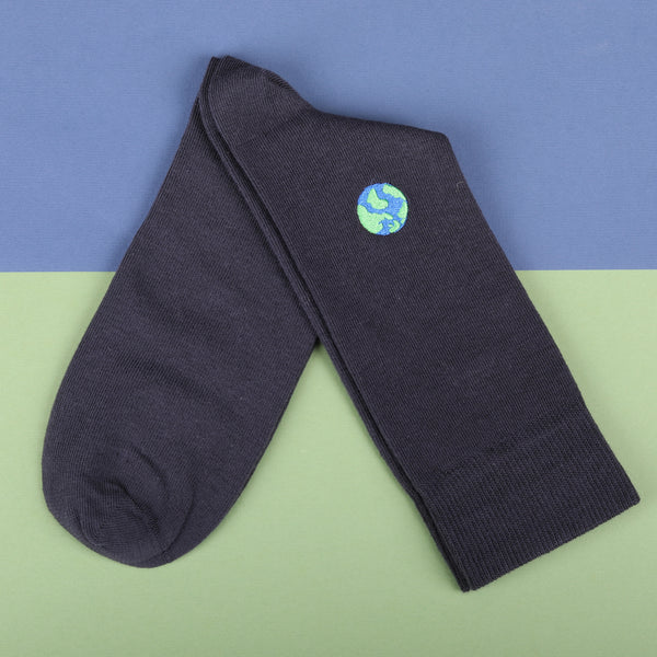 Econyl Organic Socks Earth Embroidery This Socks Help to clean Planet