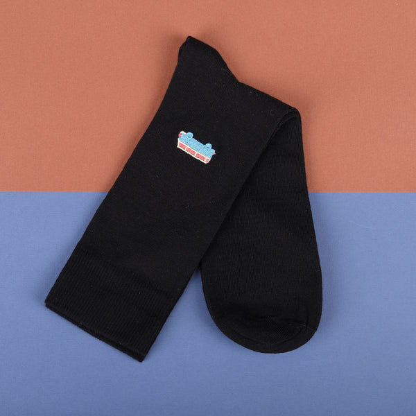 Econyl Organic Socks Mini bus Embroidery This Socks Help to clean Planet