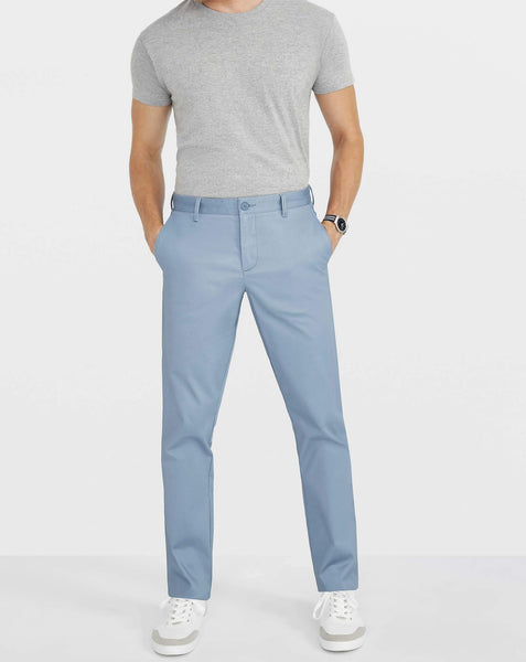 Blue Chino Stretch Luxury Satin Italian Pocket