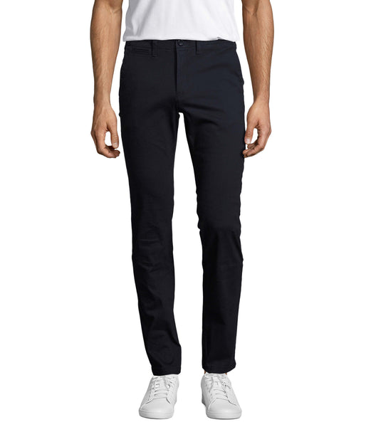 Navy Chino Stretch Luxury Satin Italian Pocket