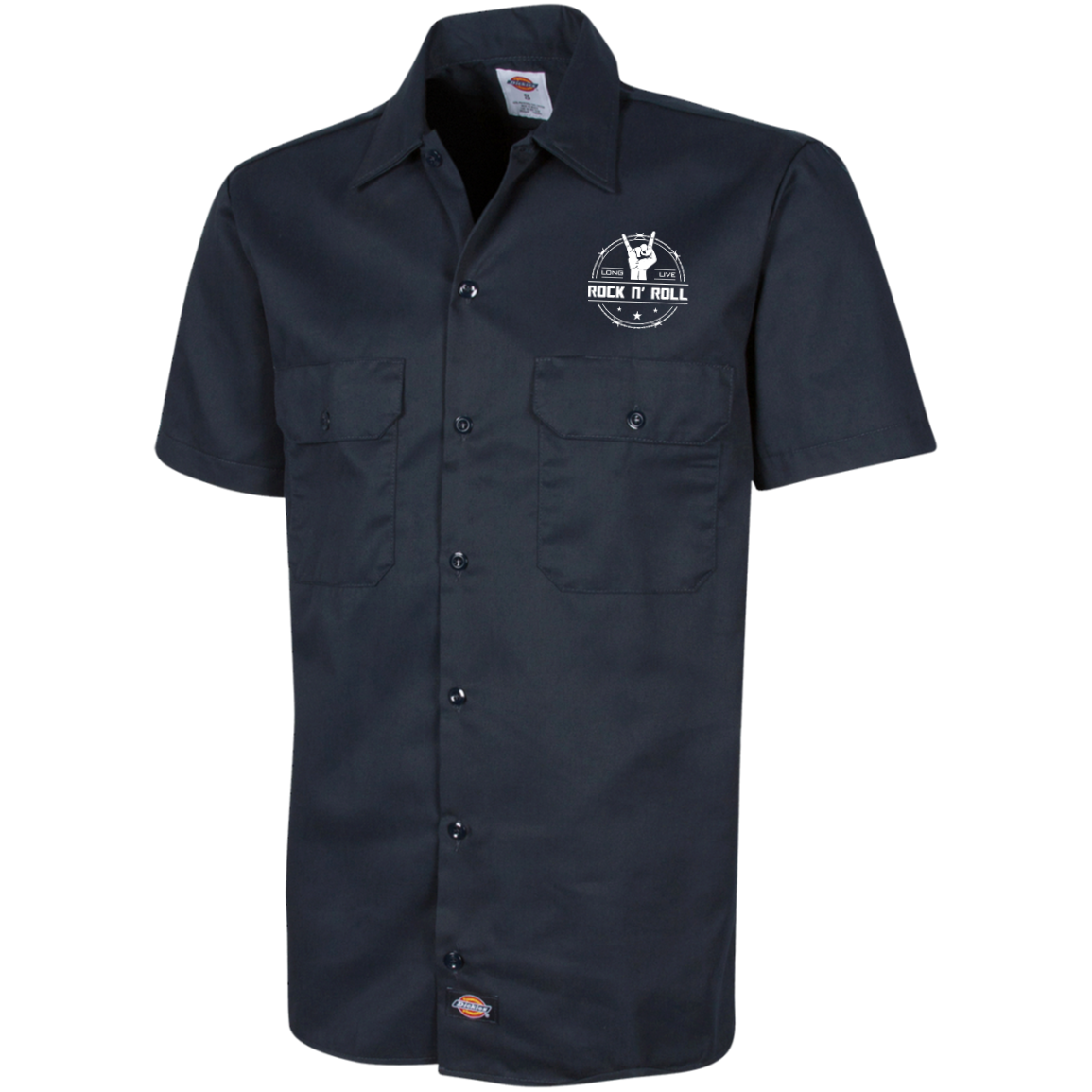 long live rock and roll mens short sleeve work shirt