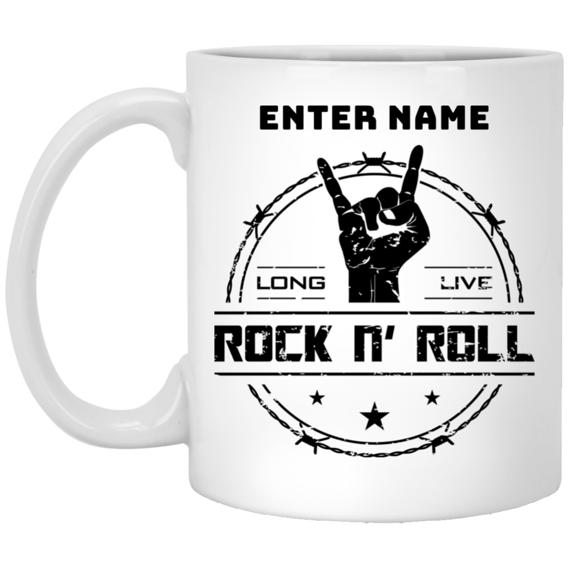 long live rock and roll white personalized coffee mug