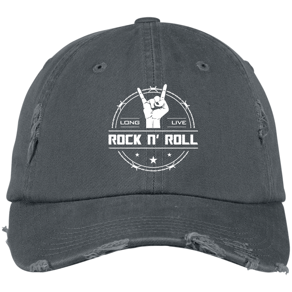 cool long live rock and roll distressed baseball cap