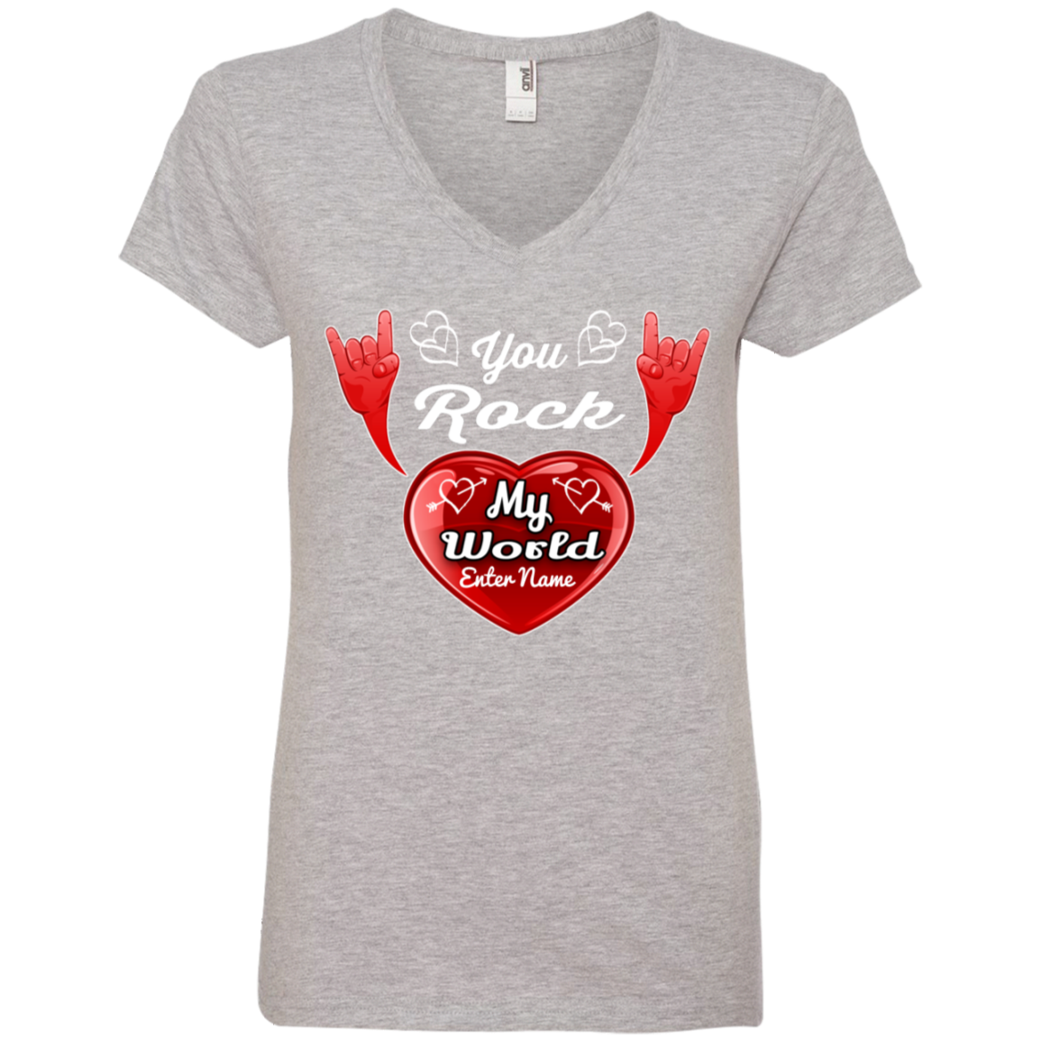 Personalized You Rock My World Ladies V Neck TShirt