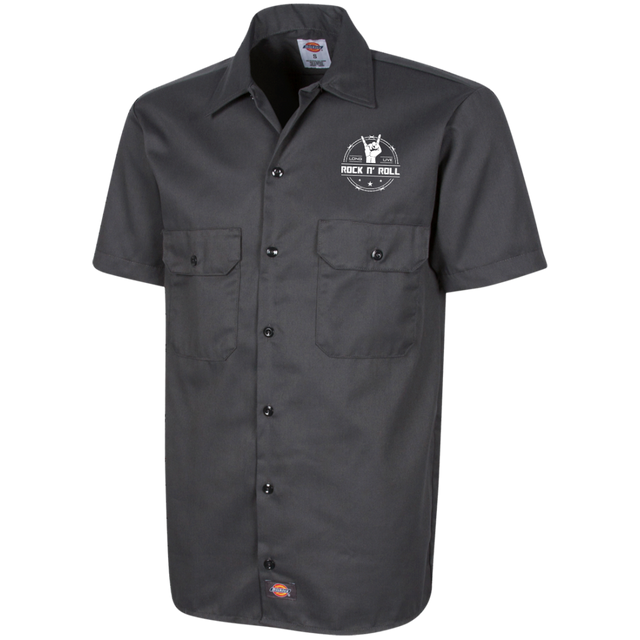 long live rock and roll mens short sleeve workshirt