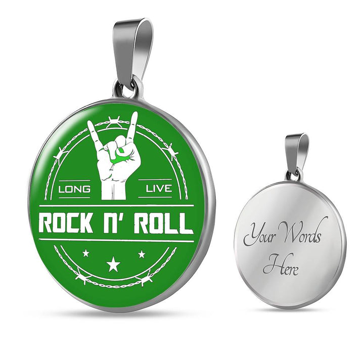 cool long live rock and roll green necklace