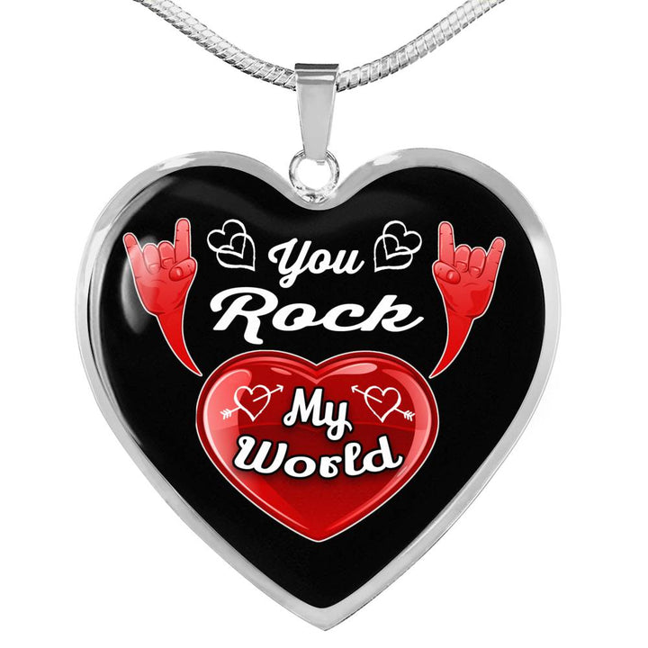 cool love you rock my world necklace