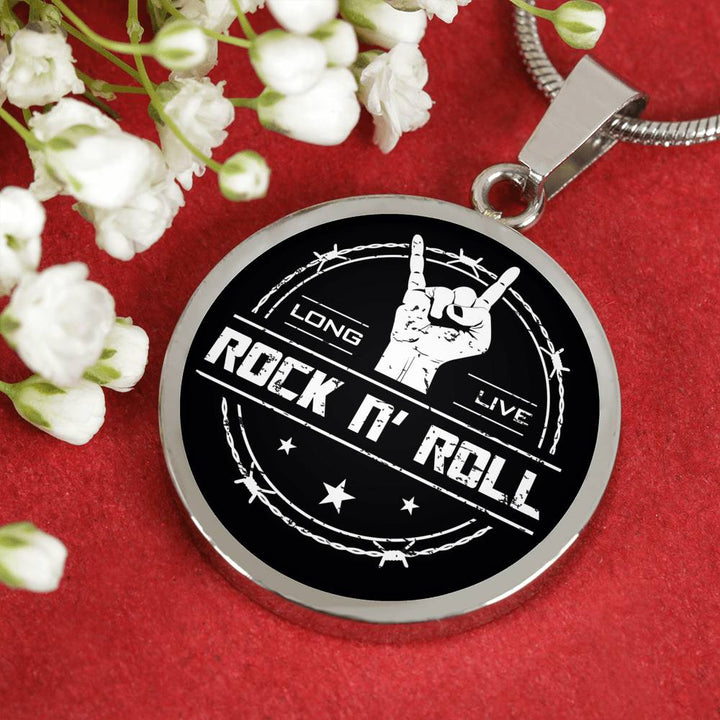 cool long live rock and roll necklace
