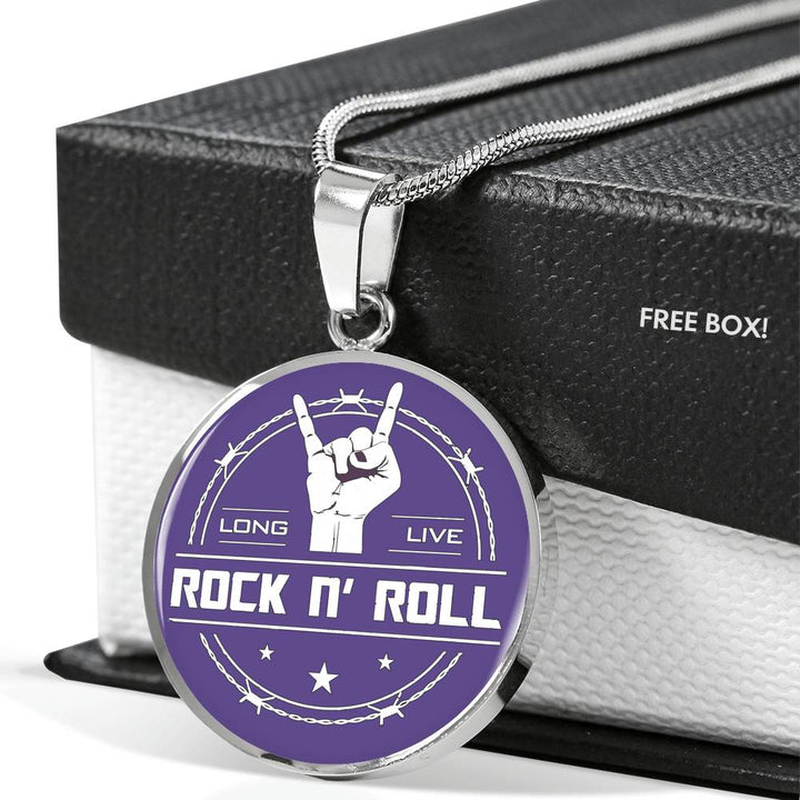 cool long live rock and roll purple necklace