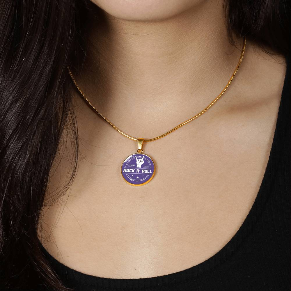 Midnight Long Live Rock And Roll Purple Necklace