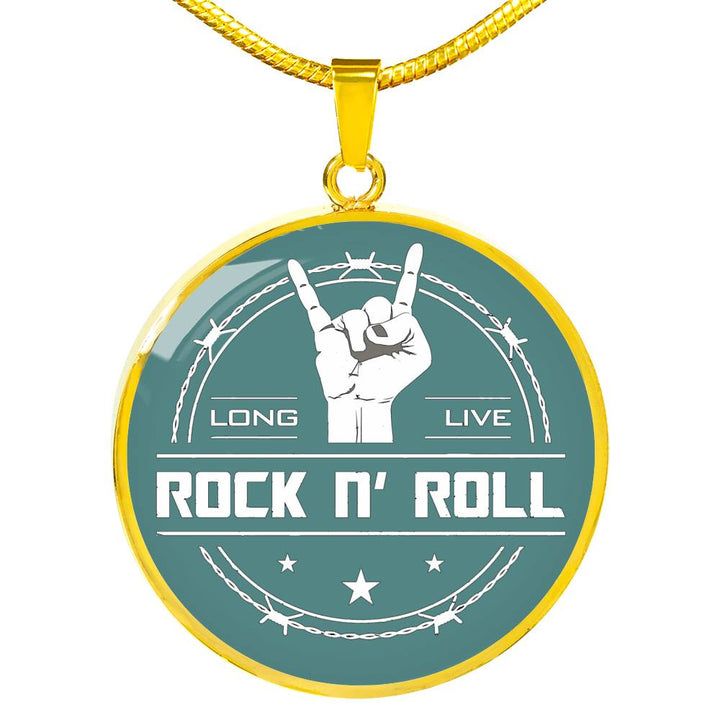 cool long live rock and roll teal necklace