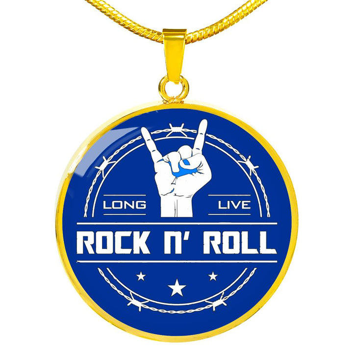 cool long live rock and roll blue necklace