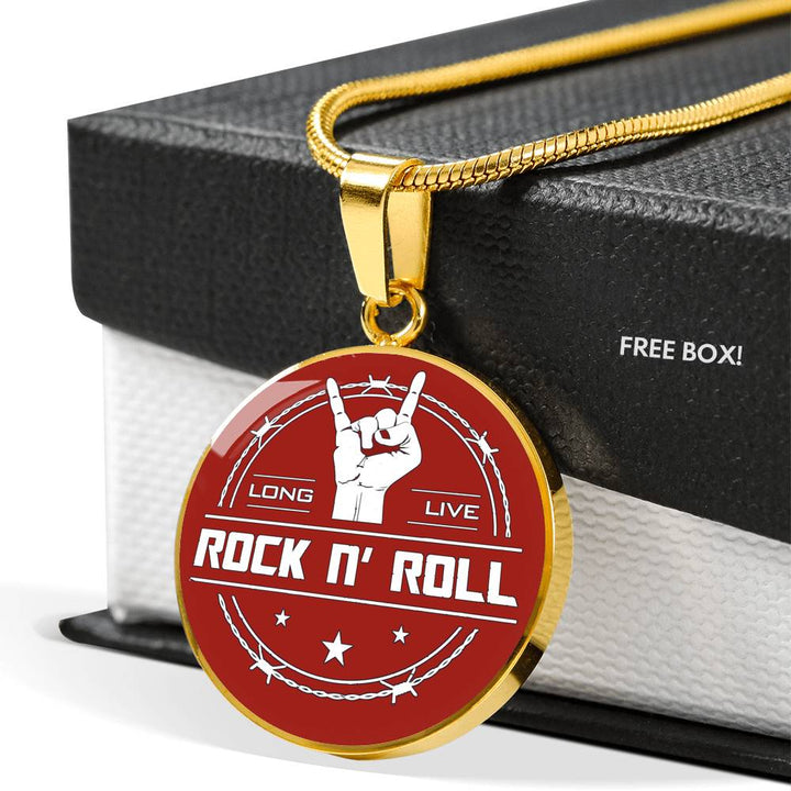 cool long live rock and roll red necklace