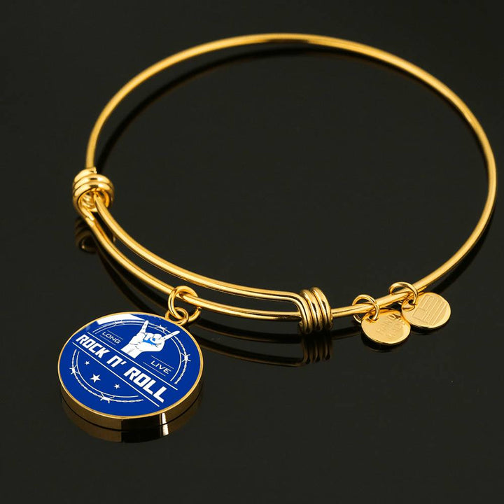 cool long live rock and roll blue bangle bracelet